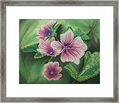 Blossoms On Green Framed Print by Mary Anne Civiok