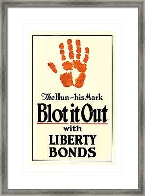 Blot It Out World War 1 Liberty Bond Art Framed Print by Presented By American Classic Art