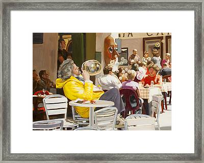 Blowing Bubbles At The Cafe  Framed Print by Dominique Amendola