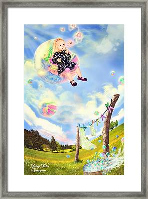 Blowing Bubbles Framed Print by Fairy Tales Imagery Inc