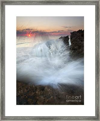 Blowing Rocks Sunrise Explosion Framed Print by Mike  Dawson