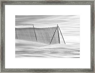 Blowing Snow At Snow Fence  Framed Print by Dan Friend