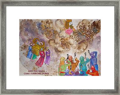 Blowing The Shofar At Jericho With Words Framed Print
