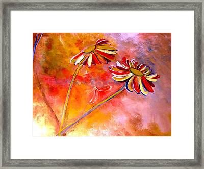 Framed Print featuring the painting Blown Backward Fall Floral by Lisa Kaiser