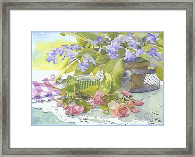 Blu Cape Primroses Framed Print by Julia Rowntree