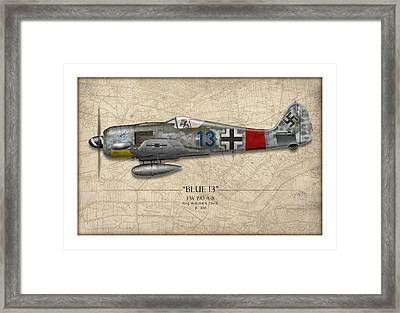 Blue 13 Focke-wulf Fw 190 - Map Background Framed Print by Craig Tinder