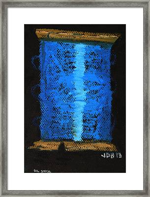 Framed Print featuring the drawing Blue 2 by Joseph Hawkins