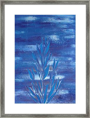 Framed Print featuring the painting Blue 2 by Nico Bielow