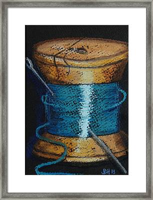 Framed Print featuring the drawing Blue 6 by Joseph Hawkins