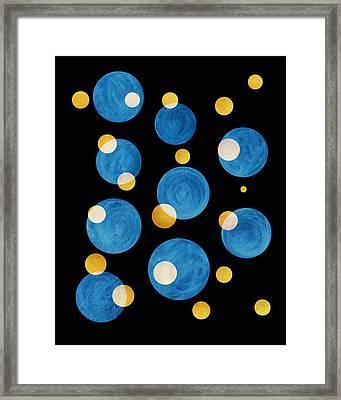 Blue Abstract Circles Framed Print by Frank Tschakert