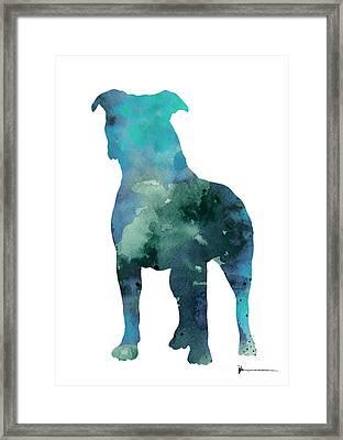 Blue Abstract Pitbull Silhouette Framed Print by Joanna Szmerdt