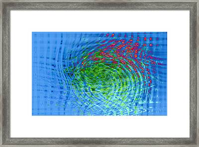Blue Abstract Reflections And Algae Framed Print by Frank Tschakert