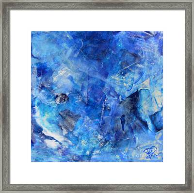 Blue Abstract Square Painting Blue Shades Modern Wall Art By Chakramoon Framed Print by Belinda Capol