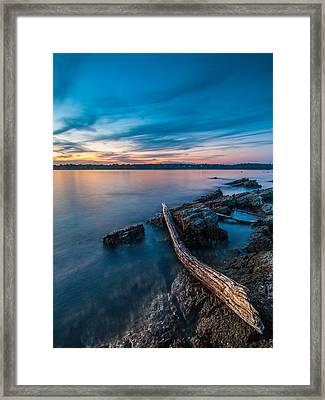 Blue Adriatic Evening Framed Print by Davorin Mance
