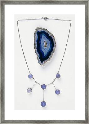 Blue Agate Brooch And Necklace Framed Print