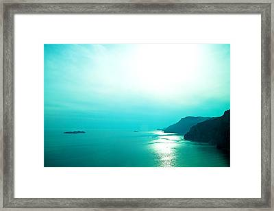 Blue Amalfi Sea Framed Print by Susan Schmitz