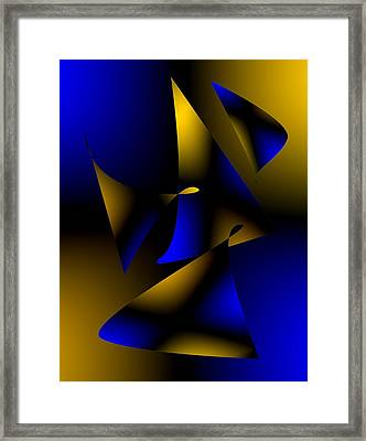 Blue And Brown Abstract Design Framed Print by Mario Perez