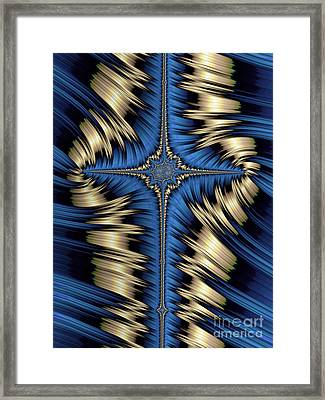 Blue And Gold Cross Abstract Framed Print by John Edwards