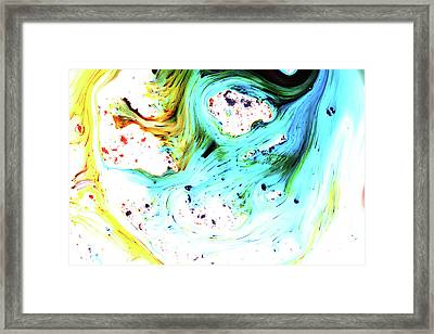 Blue And Gold Dyes In Liquid Framed Print by Mimi  Haddon