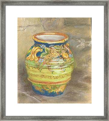 Blue And Gold Italian Pot Framed Print
