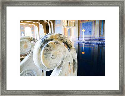 Blue And Gold Marble In A Turkish-style Pool Framed Print by Laura Palmer