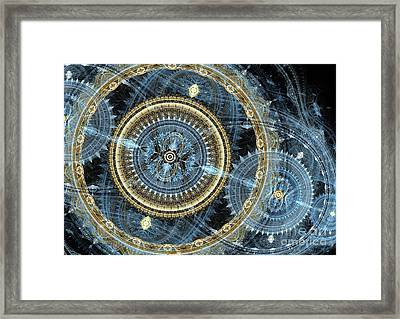 Blue And Gold Mechanical Abstract Framed Print by Martin Capek
