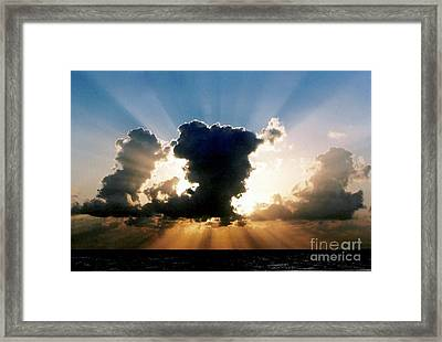 Framed Print featuring the photograph Blue And Gold Rays Sunset In The Gulf Of Mexico Off The Coast Of Louisiana by Michael Hoard