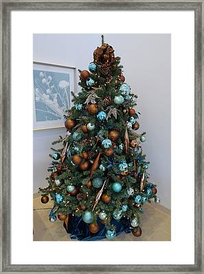 Framed Print featuring the photograph Blue And Gold Xmas Tree by Richard Reeve