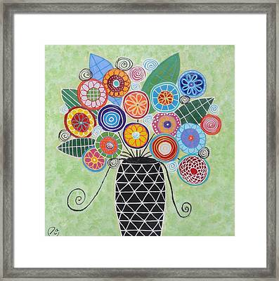 Blue And Green Flowers Framed Print
