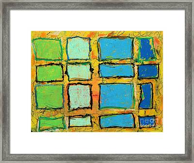 Blue And Green Windows Framed Print by Kelly Athena