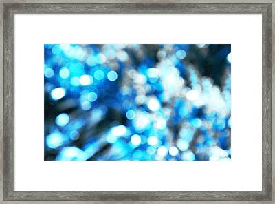 Framed Print featuring the digital art Blue And White Bokeh by Fine Art By Andrew David
