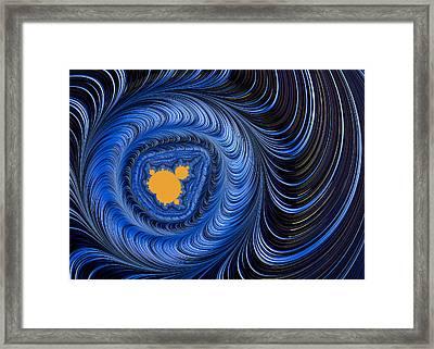Blue And Orange Abstract Mandelbrot Fractal Art Framed Print