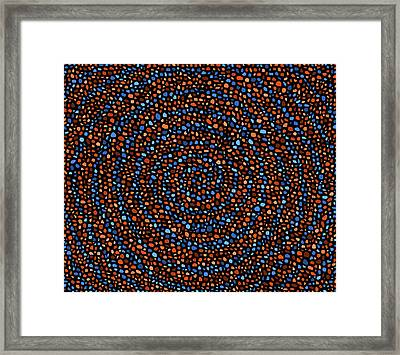 Blue And Orange Circles Framed Print