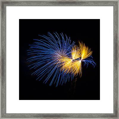 Blue And Orange Fireworks Framed Print