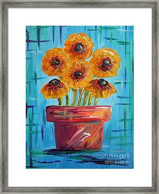 Blue And Orange - Flowers In Football Colors Framed Print by Eloise Schneider