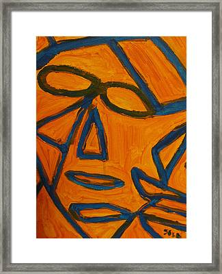 Blue And Orange Framed Print by Shea Holliman
