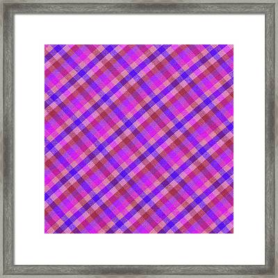 Blue And Pink Plaid Design Fabric Background Framed Print by Keith Webber Jr