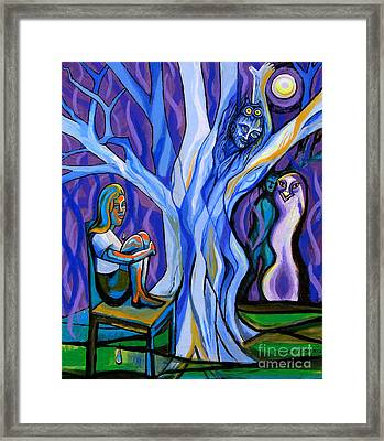 Blue And Purple Girl With Tree And Owl Framed Print by Genevieve Esson