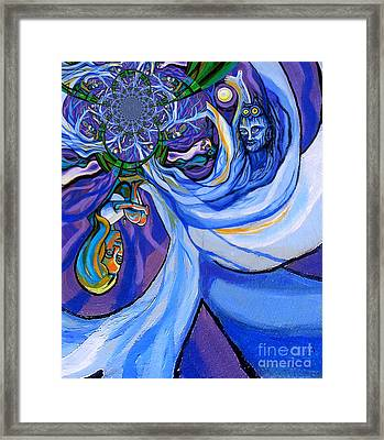 Blue And Purple Girl With Tree And Owl Upside Down Framed Print by Genevieve Esson