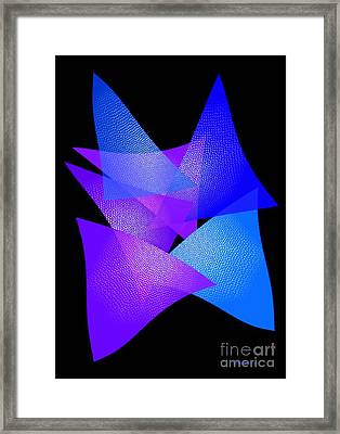 Blue And Purple Triangles Framed Print by Mario Perez