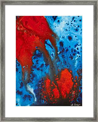 Blue And Red Abstract 3 Framed Print by Sharon Cummings