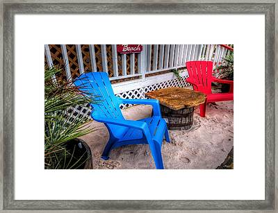 Framed Print featuring the digital art Blue And Red Chairs by Michael Thomas