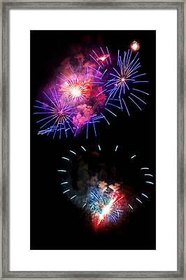 Blue And Red Firework Disks Framed Print