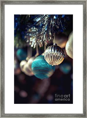 Blue And Silver Baubles. Framed Print by Jane Rix