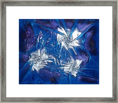 Blue And Silver Twin 1 Framed Print by Angela Stout