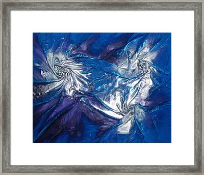 Blue And Silver Twin 2 Framed Print by Angela Stout