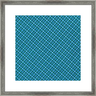 Blue And Teal Diagonal Plaid Pattern Textile Background Framed Print by Keith Webber Jr