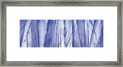 Blue And White Abstract Panoramic Painting Framed Print by Beverly Brown