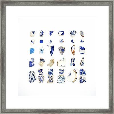 Blue And White Beach China Framed Print