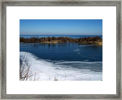 Blue And White Framed Print by Catherine Gagne